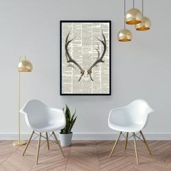 Framed 24 x 36 - Deer horns with newspaper background