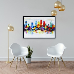 Framed 24 x 36 - Abstract and colorful city