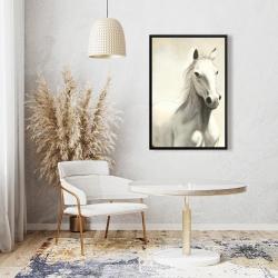 Framed 24 x 36 - Gallant white horse