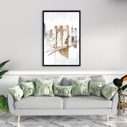 Framed 24 x 36 - Brooklyn bridge blurry sketch
