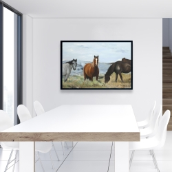 Framed 24 x 36 - Horses eating in the meadow