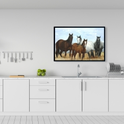 Framed 24 x 36 - Horses in the meadow by the sun
