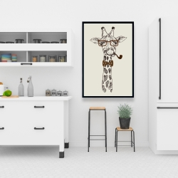 Framed 24 x 36 - Funny giraffe with a pipe