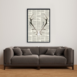 Framed 24 x 36 - Deer horns on newspaper