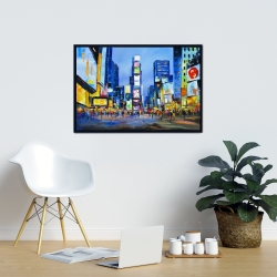 Framed 24 x 36 - Cityscape with colorful ads