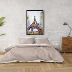 Framed 24 x 36 - Abstract paint splash eiffel tower