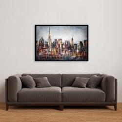 Framed 24 x 36 - Dark cityscape