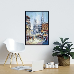 Framed 24 x 36 - Busy street by a sunny day