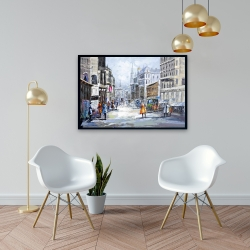 Framed 24 x 36 - Busy street by a cloudy day