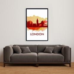 Framed 24 x 36 - Paint splash silhouette of london