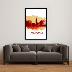 Framed 24 x 36 - Paint splash silhouette of london