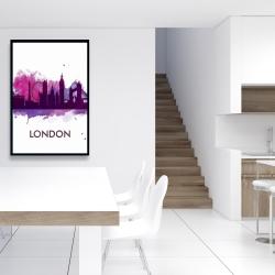 Framed 24 x 36 - Purple silhouette of london