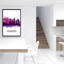 Framed 24 x 36 - Purple silhouette of london