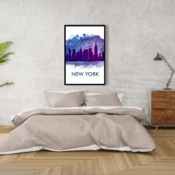 Framed 24 x 36 - Blue silhouette of new york city