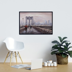 Framed 24 x 36 - Brooklyn bridge with passersby