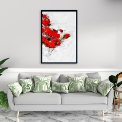 Framed 24 x 36 - Abstract red flowers with texture