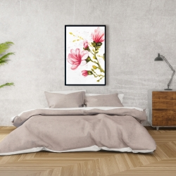 Framed 24 x 36 - Watercolor magnolia flowers