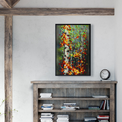 Framed 24 x 36 - Colorful dotted leaves birches