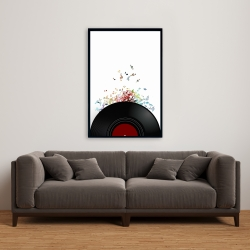 Framed 24 x 36 - Notes escaping from a vinyl record