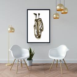 Framed 24 x 36 -  illustration of a golf bag