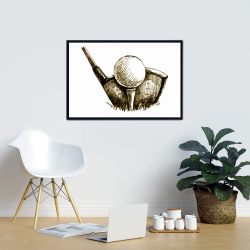 Framed 24 x 36 - Illustration of a golf ball