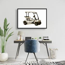 Framed 24 x 36 - Illustration of a golf cart