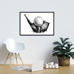 Framed 24 x 36 - Golf ball black and white