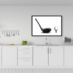 Framed 24 x 36 - Illustration of a golf club bw