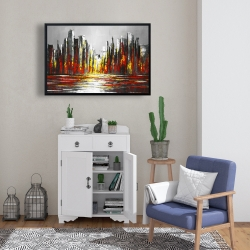 Framed 24 x 36 - Abstract red skyline