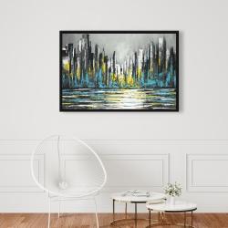 Framed 24 x 36 - Abstract blue skyline