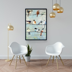Framed 24 x 36 - Small colorful birds