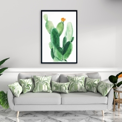 Framed 24 x 36 - Watercolor paddle cactus with flower