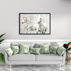 Framed 24 x 36 - Two white horse running