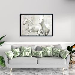 Framed 24 x 36 - Two white horse running