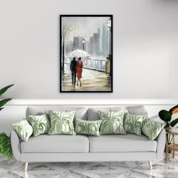 Framed 24 x 36 - Couple walking under the rain