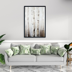 Framed 24 x 36 - Abstract white birches