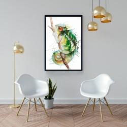 Framed 24 x 36 - Watercolor chameleon