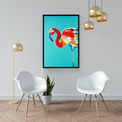 Framed 24 x 36 - Abstract flamingo