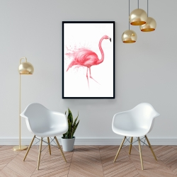 Framed 24 x 36 - Pink flamingo watercolor