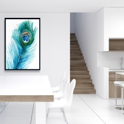 Framed 24 x 36 - Long peacock feather