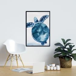 Framed 24 x 36 - Watercolor blue turtle