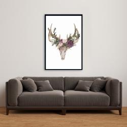 Framed 24 x 36 - Deer skull with flowers