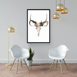 Framed 24 x 36 - Deer skull with roses