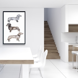 Framed 24 x 36 - Dachshund dogs