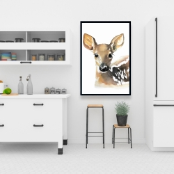 Framed 24 x 36 - Watercolor fawn face