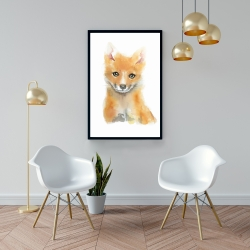Framed 24 x 36 - Watercolor baby fox