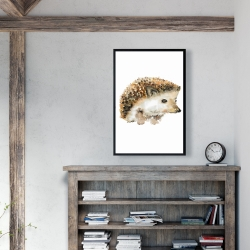 Framed 24 x 36 - Watercolor hedgehog