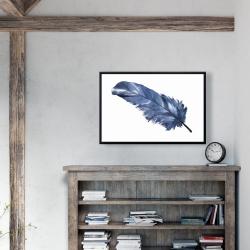 Framed 24 x 36 - Blue feather