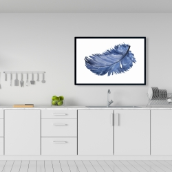 Framed 24 x 36 - Watercolor blue feather