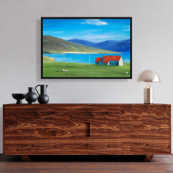 Framed 24 x 36 - Scottish highlands with a little red roof house